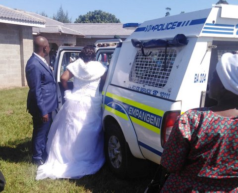 Cops in South Africa stormed into a wedding at KwaZulu-Natal with guns and arrested a couple for getting married despite a lockdown on Sunday.