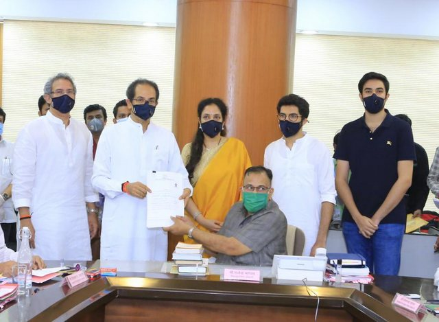 Maharashtra CM Uddhav Thackeray filed his nomination papers for Maharashtra Legislative Council (MLC) on Monday afternoon at Vidhan Bhavan in Mumbai.